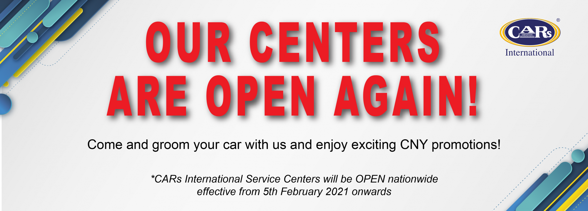 OUR CENTERS ARE OPEN AGAIN!